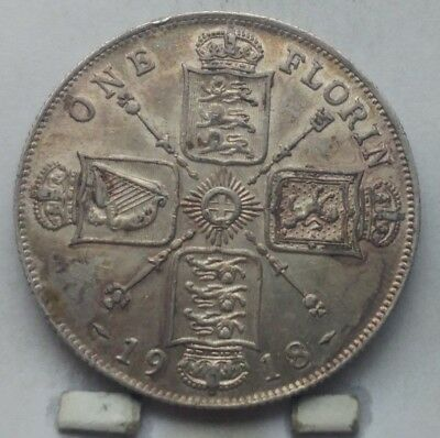 1918 Great Britain Silver 1 Florin Coin U N C