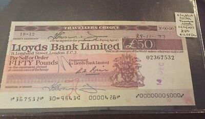 Great Britain Travellers Check 1977 Lloyds Bank 50 Pounds #M1