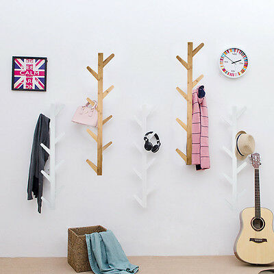 Wooden Tree Style Wall Mounted Hanger Coat Hat Rack Hook Solid Home Bedroom