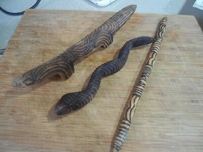COLLECTABLE  ABORIGINAL WOOD CARVINGS x 3