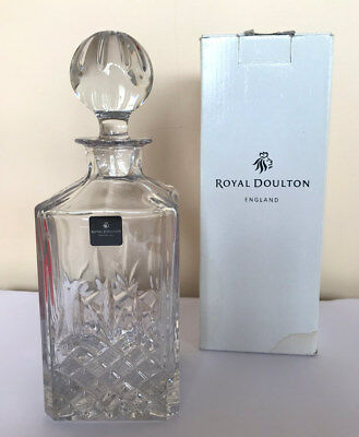 Royal Doulton Decanter - Fine Lead Crystal - Dorchester Sq Sp 680ml - Never Used