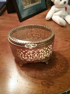 Vintage Brass and Beveled Edge Glass Small Jewelry Box