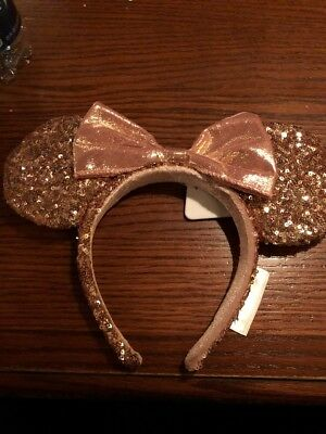 Disney Parks Exclusive ROSE GOLD Minnie Mouse Headband Ears Disneyland
