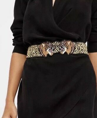Free People Size S/M Black Tiger Embroidered Glass Beaded Waist Belt NEW