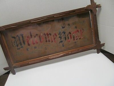 Vintage HOME SWEET HOME Needlepoint Sampler in Corner Leaf Wood Frame