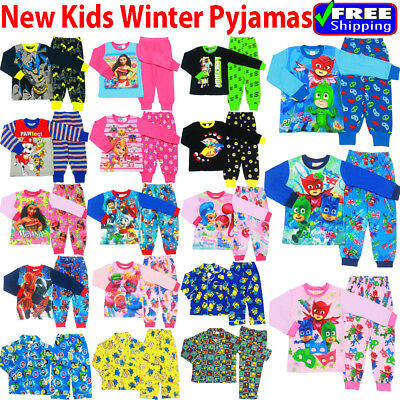NEW Size 1-12 KIDS PYJAMAS WINTER BOYS GIRLS SLEEPWEAR NIGHTIES TEE PJ MASK PAW