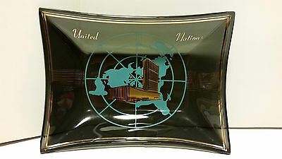 Vintage '70s New York United Nations Curved Stained Glass Ashtray / Coin Dish