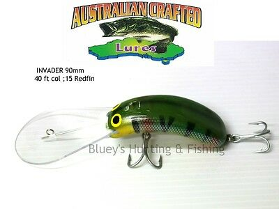 Australian Crafted Lures- cod 90mm invader Redfin col;15  40ft a.c.lures