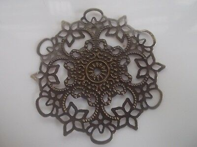 4 x round metal flower embellishments , anitque bronze colour, 5.5cm across