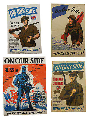 ON OUR SIDE 4 WWII Propaganda Posters Russia British Chinese French Soldier 1944