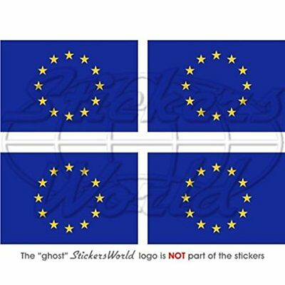 "EUROPE European Union Flag EU 2"" 50mm Vinyl Bumper-Helmet Stickers, Decals x4"