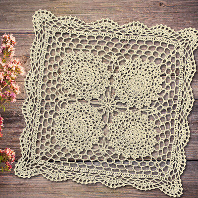 Vintage Hand Crochet Lace Doily Square Table Placemat 17inch Ecru