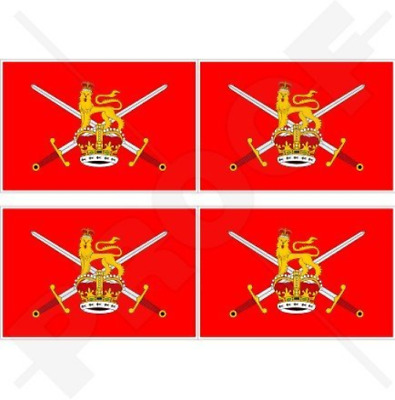 "BRITISH ARMY Flag UK 2"" 50mm Vinyl Bumper-Helmet Stickers, Decals x4"