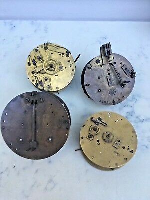 Lot of 4 French Clock Movements, Repair