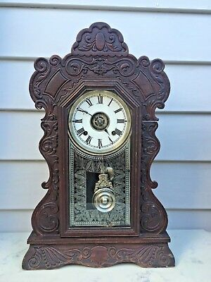 1860's American Gingerbread Kitchen Mantle Clock