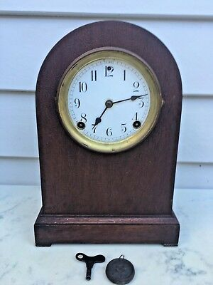 c.1890 American Sessions 8D Striking Round Dome Wood Case Mantle Clock