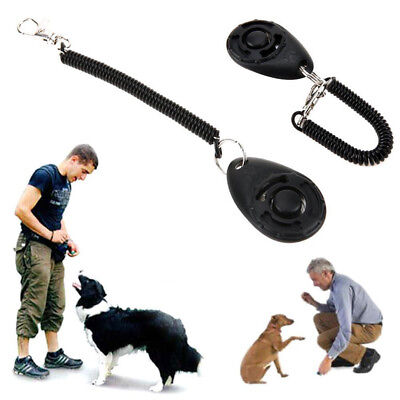 1x Pet Click Clicker Training Obedience Agility Trainer Aid Wrist Strap 2018