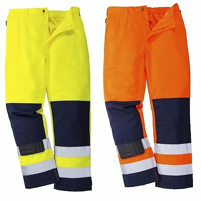 Portwest Seville Hi Vis Trousers Pants Knee Pads Safety Uniform Work Wear TX71