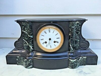 c.1880 French Black Slate & Marble Mantle Clock 8D Strikes the Hour on the Hour