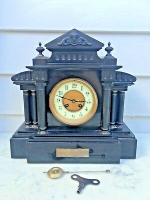 c.1890 French Black Slate & Marble 12h Enamelled Chapter Dial 8D Striking Mantle