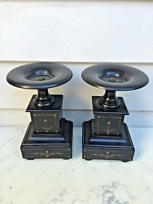 Antique Decorative French Black Slate Matching Pair Side Pieces