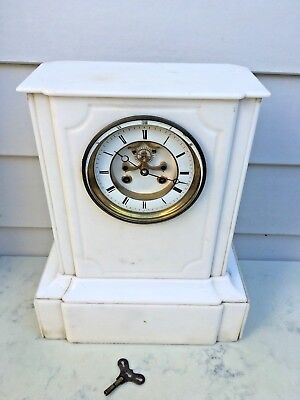 c.1860 French Large White Marble Mantle Clock  Brocot Escapement