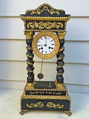 c1860 French Portico 4Pillar Clock 8D Strikes the hr on the hr&half hr ontheBell