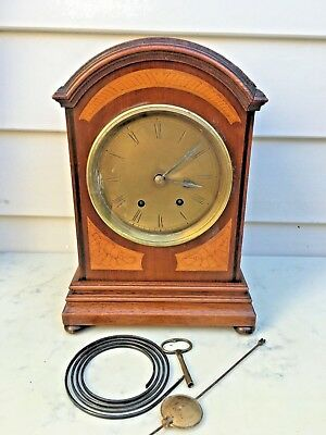 c.1870 German Bracket Mantle Clock Brass Dial 8 Days Strike the Gong
