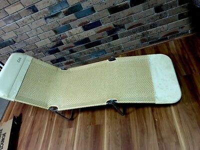 Rare Mid Century Vintage Retro Canvas Sunlounge Deck Pool Chair Rattan