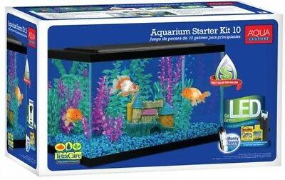 Aqua Culture 10 Gallon Aquarium Starter Kit Fish Tank w/ LED Filter Terrarium