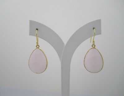 Hand Crafted18K Gold Plated Over 925 Silver Oval Pink Agate Drop Earrings SE377