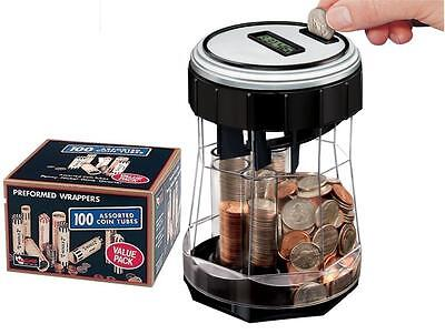 EZ-Count Money Jar Digital Coin Counter w/100 ct Preformed Wrappers