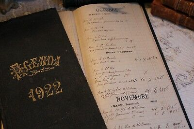 Two Antique Vintage French Office Agenda Diary Account Books Dating 1921 & 1922