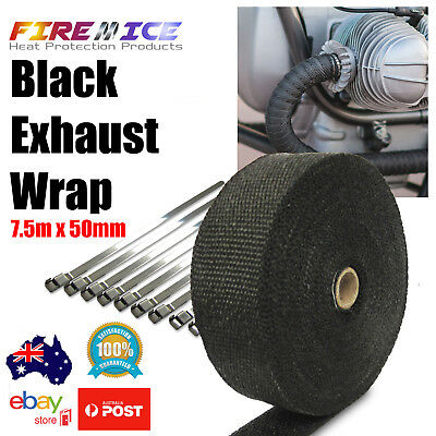 Exhaust Wrap Motorbike Motorcycle Bike Black 7.5m x 50mm Harley Heat Wrap