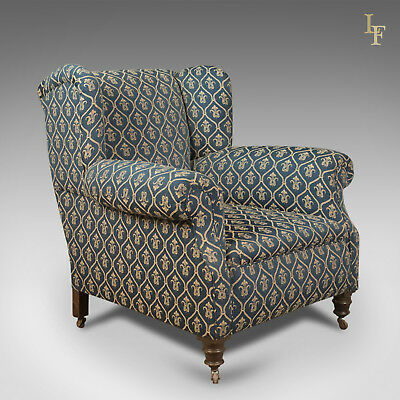 Antique Armchair, Edwardian English Club Chair, Quality c.1910