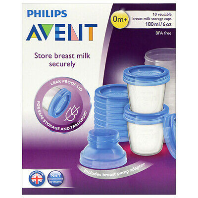 NEW Avent Breast Milk Storage Pack Containers Leak Proof & Reusable 180ml 10Pk
