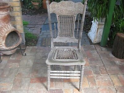 Antique Dining Chair (Wood) Rope Weave On Back & Seat - NEEDS TO BE RESTORED