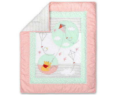 Disney Baby Pooh Let's Fly A Kite Cot Quilt - Pink