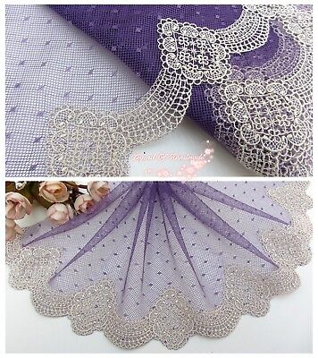 "6.5""*1Y Embroidered Tulle Lace Trim~Deep Purple+Bright Beige~Dreamy Moments~SALE"