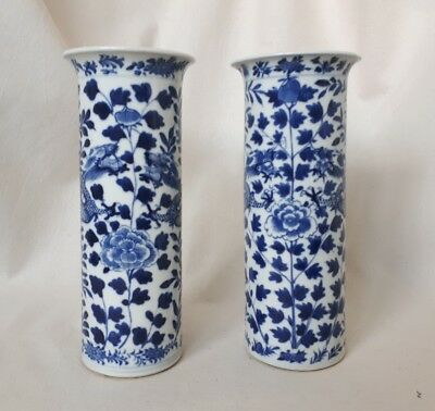 Pair of Chinese Porcelain Sleeve Vases. Blue & White Dragon. Antique Kangxi Mark