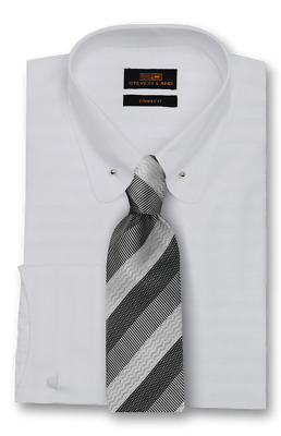 Dress Shirt Steven Land Point Club Collar Curved French Cuff- White -TA1721-WH