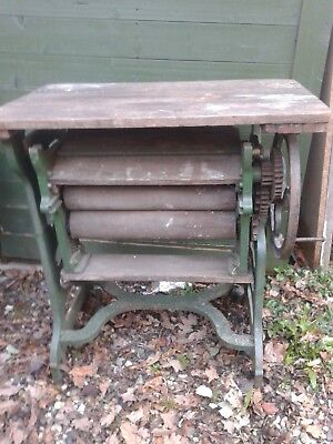 Antique Cast Iron And Wood Mangle. Vintage Industrial Mangle