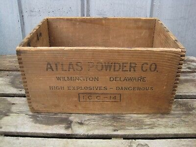 Vintage Atlas Powder Co High Explosives Dynamite Wood Box Wooden Crate B8019