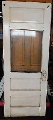 """Rustic Solid Wood Entry Door w/ Window, Shabby Chic Salvage EXCELLENT 78""""x29"""""""