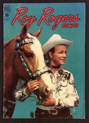 ROY ROGERS COMICS #19 July 1949 Golden Age Western Comic PHOTO COVER Dell Fine+