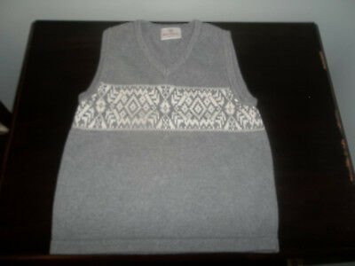 Hanna Anderson Gray/White Boys Sweater Vest Size 110 Gently Worn