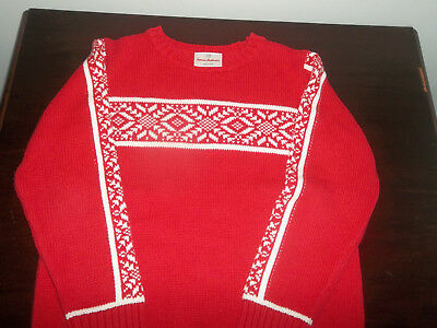 Hanna Anderson Boys Red Holiday Sweater Size 110 Gently Worn