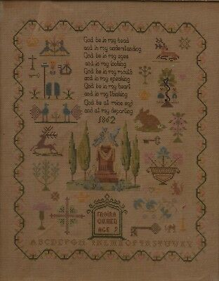 19th Century Victorian Old Antique Sampler Dated 1862 God be in my Head