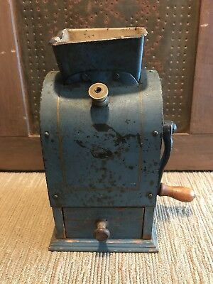 Rare Antique Blue Coffee Grinder Metal And Wood