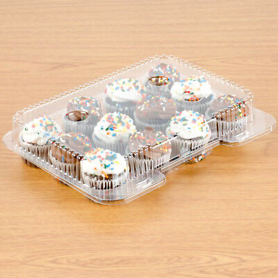 12-Compartment Clear Hinged Cupcake & Mini Muffin Container (5 Pack)